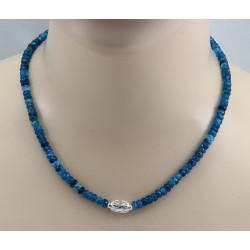 Apatit-Kette - facettierte Neon-Apatite mit Silber Halskette 47,5 cm lang-Edelsteinketten