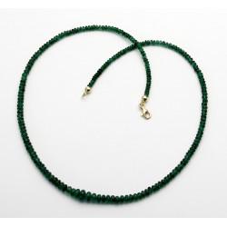 Smaragd Kette - Smargd Rondelle im dunklen Grün 46 cm lang