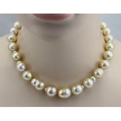 Südsee-Perlenkette barocke Südseeperlen in goldigem Farbton geknotet 45 cm lang-Perlenschmuck