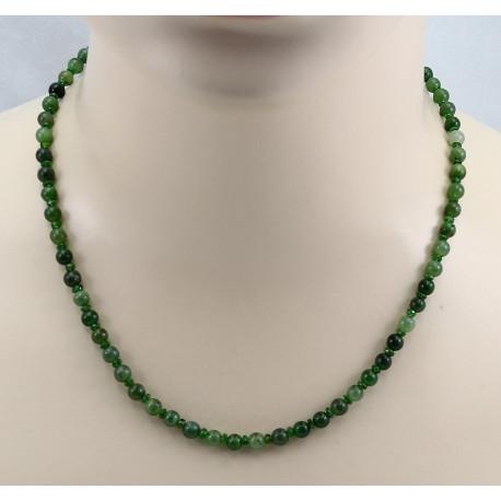 Jade-Kette mit Chromdiopsid - grüne Nephrit-Jade Kugeln - 48 cm lang-Edelsteinketten