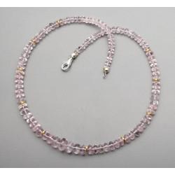 Morganit Kette - rosa Beryll Halskette in Rondellform 47 cm lang