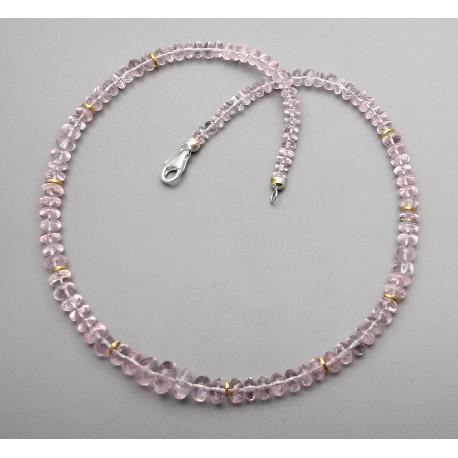 Morganit Kette - rosa Beryll Halskette in Rondellform 47 cm lang-Edelsteinketten