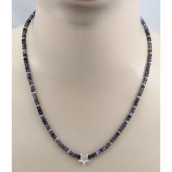 Iolith-Kette blau facettiert mit grauen Perlen & Stern in 51 cm Länge