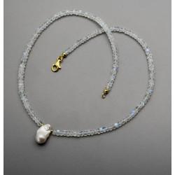 Mondstein Kette - facettierte Regenbogen-Mondsteine mit Ming-Perle 47 cm-Edelsteinketten