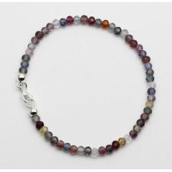Spinell Armband facettiert multicolour mit Silber-Schließe 19,5 cm