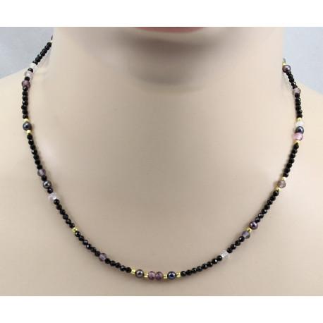 Schwarze Spinell Kette facettiert mit bunten Spinellen 44,5 cm-Edelsteinketten
