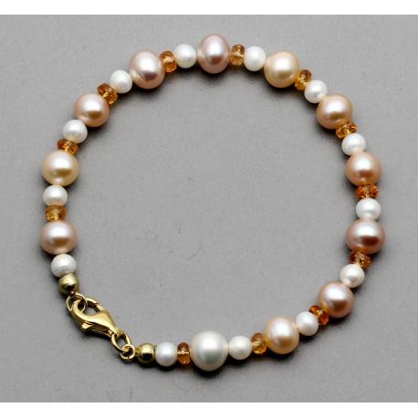 Perlen-Armband mit Mandarin-Granat in 19,5 cm Länge-Perlen-Armbänder