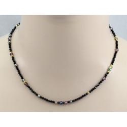 Spinell-Kette - schwarze Spinelle mit farbigen Spinellen & Perle 45 cm