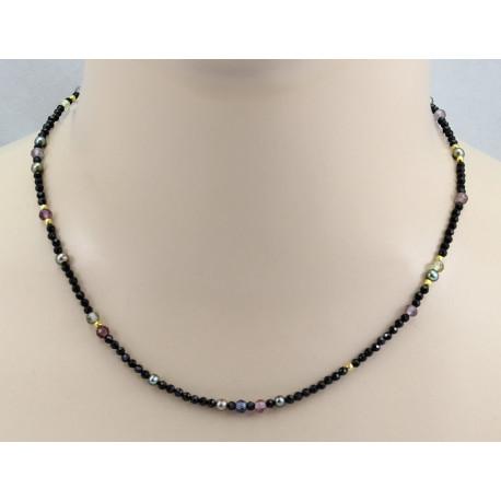 Spinell-Kette - schwarze Spinelle mit farbigen Spinellen & Perle 45 cm-Edelsteinketten