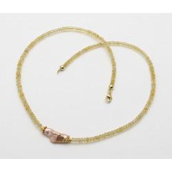 Goldberyll-Kette - facettierte gelbe Berylle mit Keshi-Perle in 43 cm Länge-Edelsteinketten