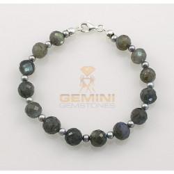Labradorit-Armband, Labradorit mit Perle