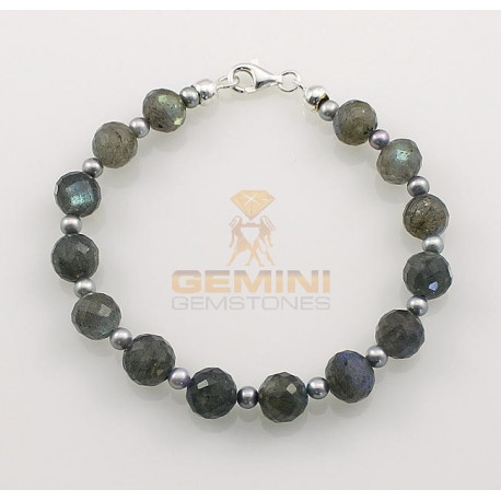 Labradorit-Armband, Labradorit mit Perle-Edelstein-Armbänder