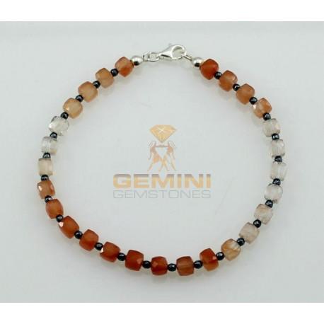 Mondstein-Armband, Mondstein dreifarbig, Hämatit-Edelstein-Armbänder