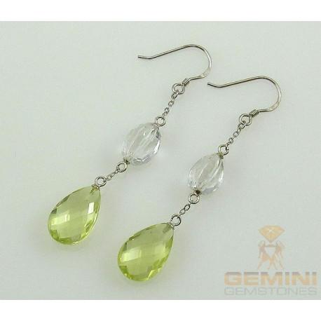 Silber-Ohrringe, Ohrhänger mit Lemoncitrin u. Bergristall-Edelstein-Ohrringe