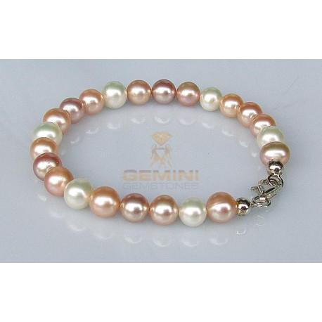 Perlen-Armband Süßwasserperlen multicolour 19 cm-Perlen-Armbänder