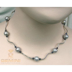 Perlencollier, graue Süßwasserperlen