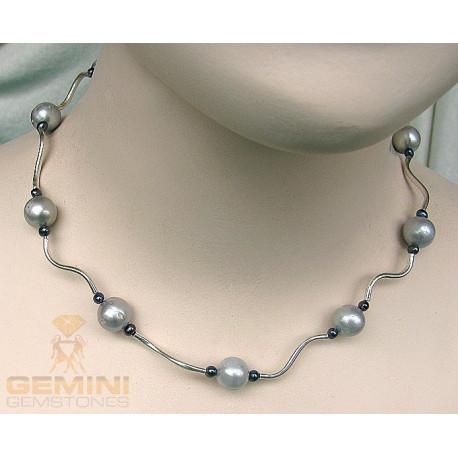 Perlencollier, graue Süßwasserperlen-Perlenketten