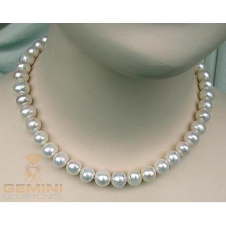 Perlen Kette, weiße Süßwasserperlen-Perlenschmuck