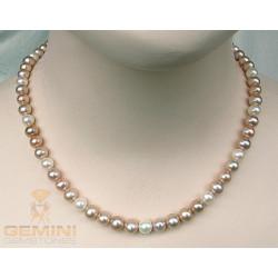 Perlenkette runde Süßwasser Zuchtperlen multicolour 46,5 cm