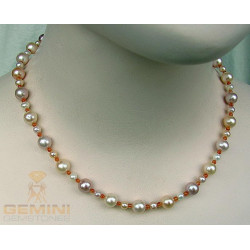 Perlenkette, Süßwasserperlen mit Karneol-Perlenketten