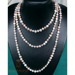 Perlenkette, Süßwasserperlen, geknotet, 160cm endlos