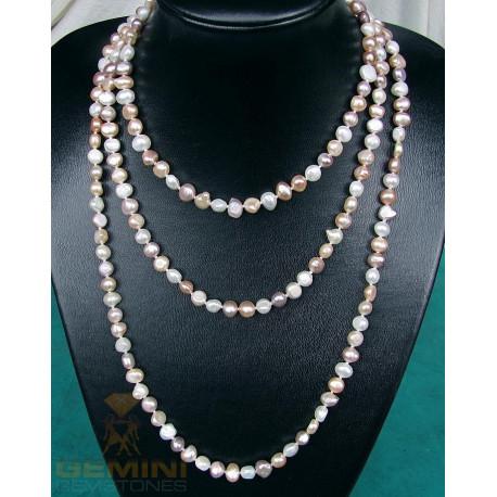 Perlenkette, Süßwasserperlen, geknotet, 160cm endlos-Perlenschmuck