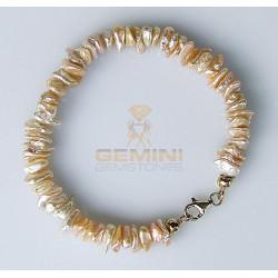 Perlen Armband: Keshiperlen, apricot