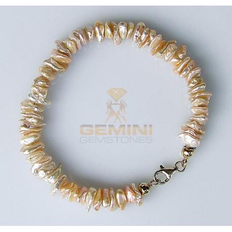 Perlen Armband: Keshiperlen, apricot-Perlen-Armbänder