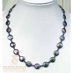 Perlenkette: graue Perlen Amethyst und Iolith