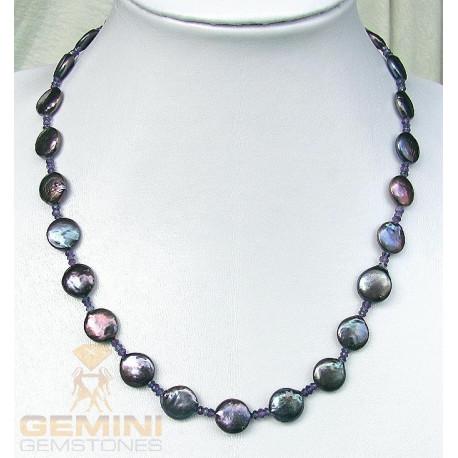 Perlenkette: graue Perlen Amethyst und Iolith-Perlenketten