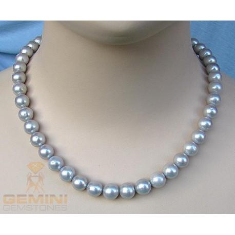 Perlenkette, 45 runde hellegraue Perlen-Perlenschmuck