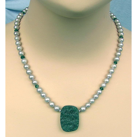 Perlenkette, silbergraue Süßwasser-Perlen mit Aventurin-Perlenschmuck