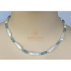 Perlenkette mit Zirkon, Süßwasserperlen & Blauer Zirkon