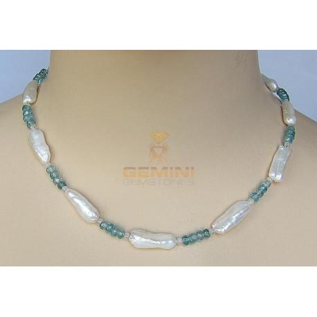 Perlenkette mit Zirkon, Süßwasserperlen & Blauer Zirkon-Perlenketten