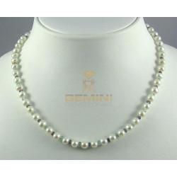 Perlenkette, Süßwasserperlen mit Iolith und Zirkon