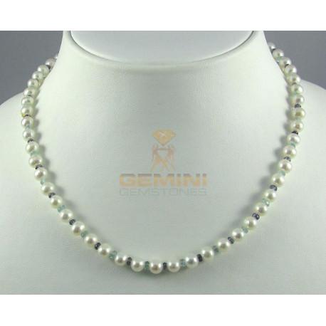 Perlenkette, Süßwasserperlen mit Iolith und Zirkon-Perlenketten