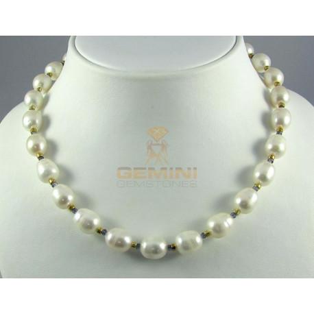 Perlenkette, Zuchtperlen mit Iolith-Perlenketten