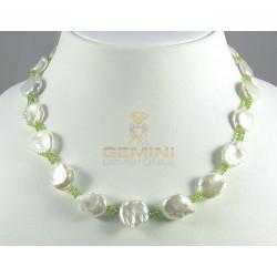 Perlenkette weiße Keshi-Perlen mit Peridot Halskette für Damen 45 cm