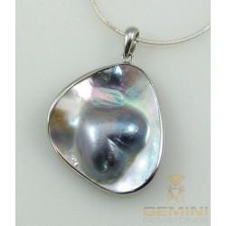 Ketten-Anhänger in Silber  mit Mabe-Perle in Herz-Form