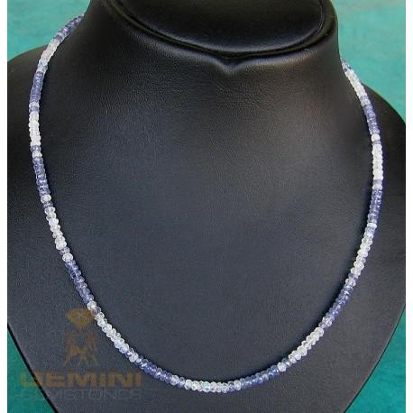 Tansanit Kette mit Mondstein 43,5 cm lang-Edelsteinketten