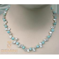 Perlenkette Keshi mit Larimar