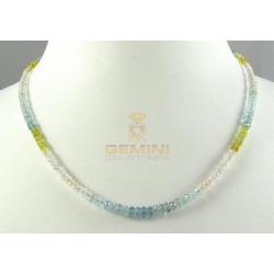 Beryll-Kette facettierter Edel-Beryll multicolour Halskette Damen 45,5 cm