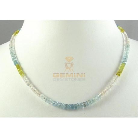Beryll-Kette facettierter Edel-Beryll multicolour Halskette Damen 45,5 cm-Edelsteinketten