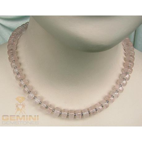 Rosenquarz Kette mit Perle-Edelsteinketten