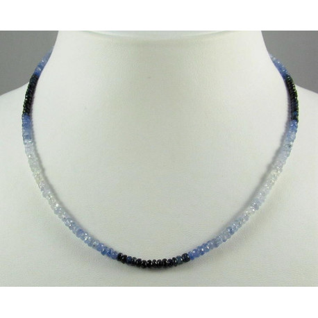 Saphir Kette blau weiße Saphire Halskette für Damen-Edelsteinketten