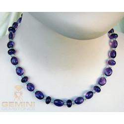 Amethyst Kette lila Amethyst mit Aquamarin Halskette 46 cm