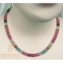 Saphir Kette Saphir multicolour Rondelle 280 Karat Halskette für Damen-Edelsteinketten