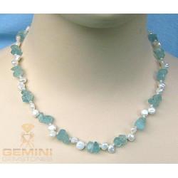 Edelsteinkette: Aquamarine und Keshi Perlen