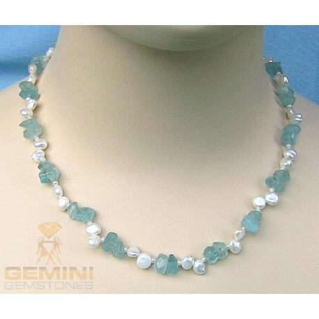 Edelsteinkette: Aquamarine und Keshi Perlen-Edelsteinketten