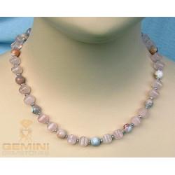 Rosenquarz Kette mit Botswanaachat und Perlen